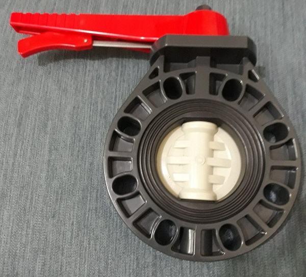 Van bướm nhựa uPVC tay gạt kết nối Wafer